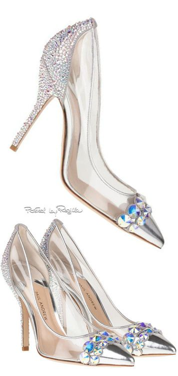 """Paul Andrew's Cinderella Glass Slipper Design - He states """"Cinderella's glass slipper represents every woman's dream shoe. The story, being a classic, inspired me to use my iconic pointed toe silhouette, which I embellished with an array of hand-encrusted Swarovski crystals to create the ultimate fantasy shoe. I used transparent PVC to create a 'glass' effect and ivory suede for luxurious texture and dimension.""""...x"""
