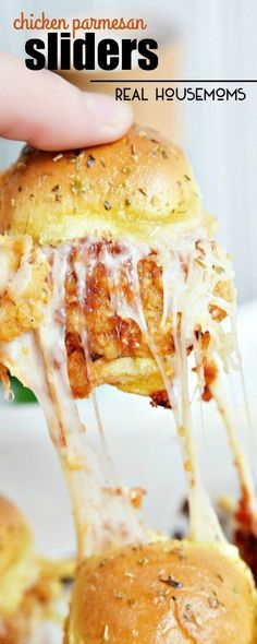These CHICKEN PARMESAN SLIDERS are an easy recipe made with fried chicken tenders, tomato sauce, and lots of cheese!