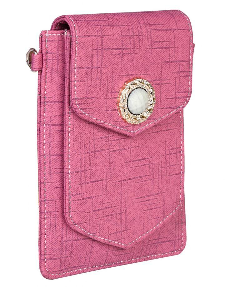 PurpleYou pink color plain sling bag made of polyurethane material.