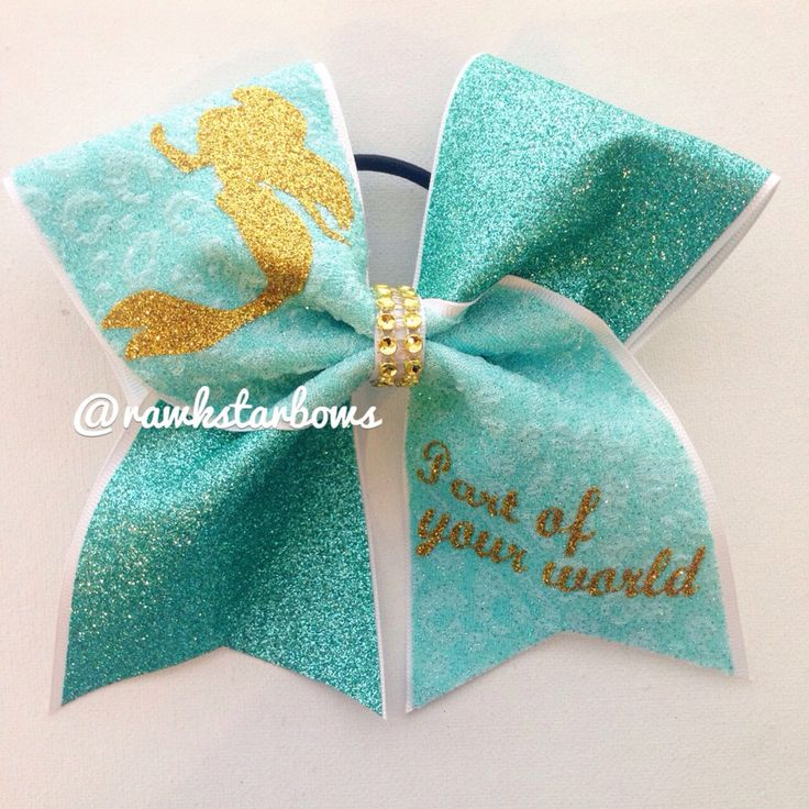 Ariel Cheer Bow The little Mermaid bow by RAWkstarBows on Etsy