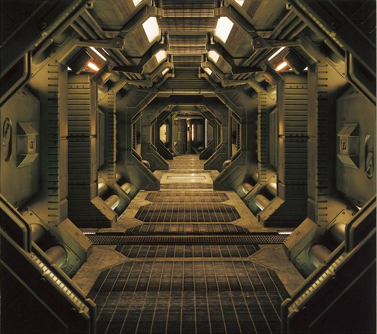 Stock Photo - Interior of an industrial or spaceship corridor