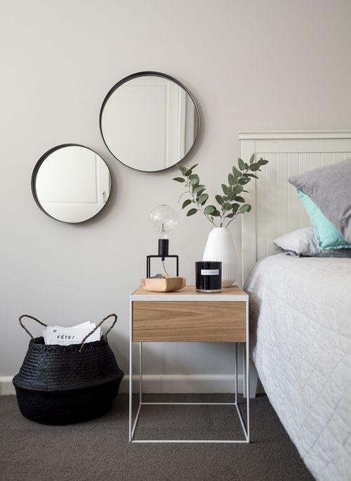Bed inspo. Black white monochrome grey minimalist Scandinavia inspiration decor ideas round mirror