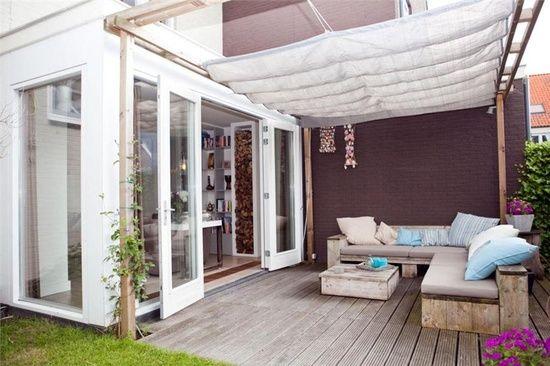 stoff decke ideen terrassenüberdachung aus holz
