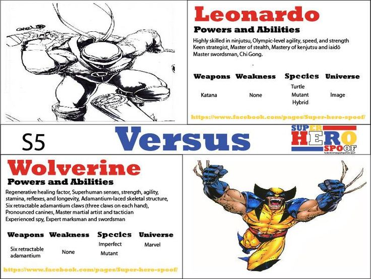 An epic showdown between two skilled warriors! Leonardo vs Wolverine! WHO WILL WIN, and why? Powers, abilities, weaknesses, and weapons are posted. Comment your thoughts... #superherospoof