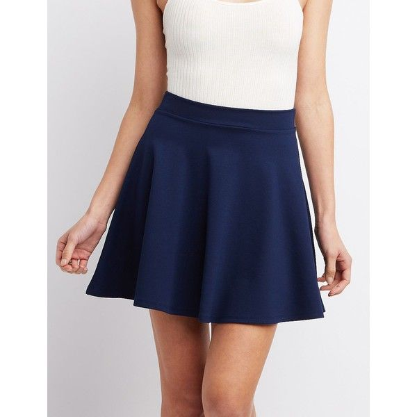 Charlotte Russe Ponte Knit Skater Skirt ($17) ❤ liked on Polyvore featuring skirts, mini skirts, navy blue, blue skater skirt, flared skater skirt, high waisted skirts, short skirts and circle skirt