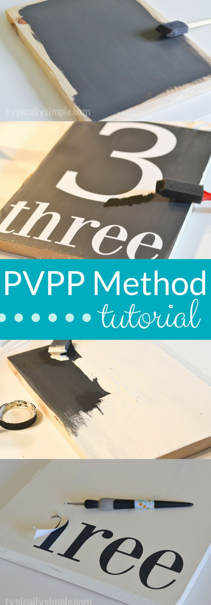 Have you been hearing about the PVPP method? Wondering how it's done? Look no further! Here's a step-by-step tutorial on how to use your Silhouette to create a hand painted sign using the Paint, Vinyl, Paint, Peel method. | TypicallySimple.com