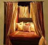 Indian Mediterranean and Spanish style. Four Poster Canopy Bed.