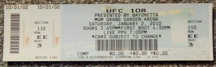 UFC ULTIMATE FIGHTING UFC 108 ORIGINAL USED TICKET MGM LAS VEGAS, JANUARY 2 2010 #UFC108