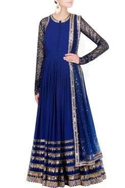 A midnight blue pure silk georgette jewel neck anarkali with intricate embroidery on sleeves , back and ghera . It comes with a beautiful heavy embroidered dupatta. Shop Now at www.carmaonlineshop.com #carma #carmaonlineshop #designer #online #anarkali #embroidery #sequins #silk #VvanibyVaniVats #VaniVats #opulent #romanticism #shopnow
