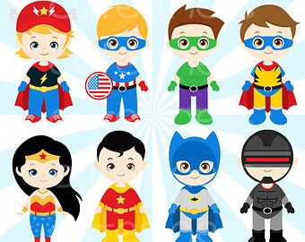 Build your own superhero digital stamps by ClementineDigitals