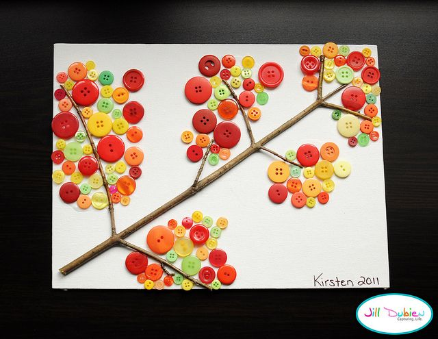 Fall Crafts: Crafts Ideas, Buttons Crafts, For Kids, Fall Crafts, Buttons Art, Trees Branches, Kids Crafts, Fall Trees, Buttons Branches
