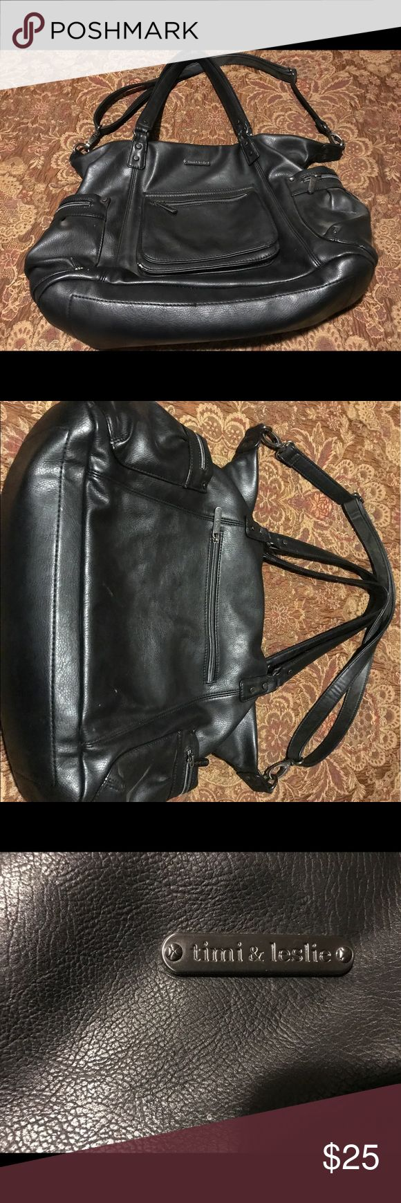 Timi & Leslie black leather diaper bag Black leather Timi & Leslie diaper bag. Long detachable strap. Multiple pockets!  Very pretty! Timi & Leslie Accessories Bags