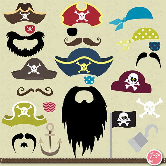 Pirate Clipart Clip Art Set,Mustache,Party Weddings Birthday Parties Halloween ,Photo Booth Printables Ph001Commercial and Personal Use
