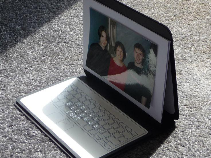 Laptop card opens as an easel card.