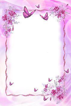 Marco transparente de color rosa con mariposas
