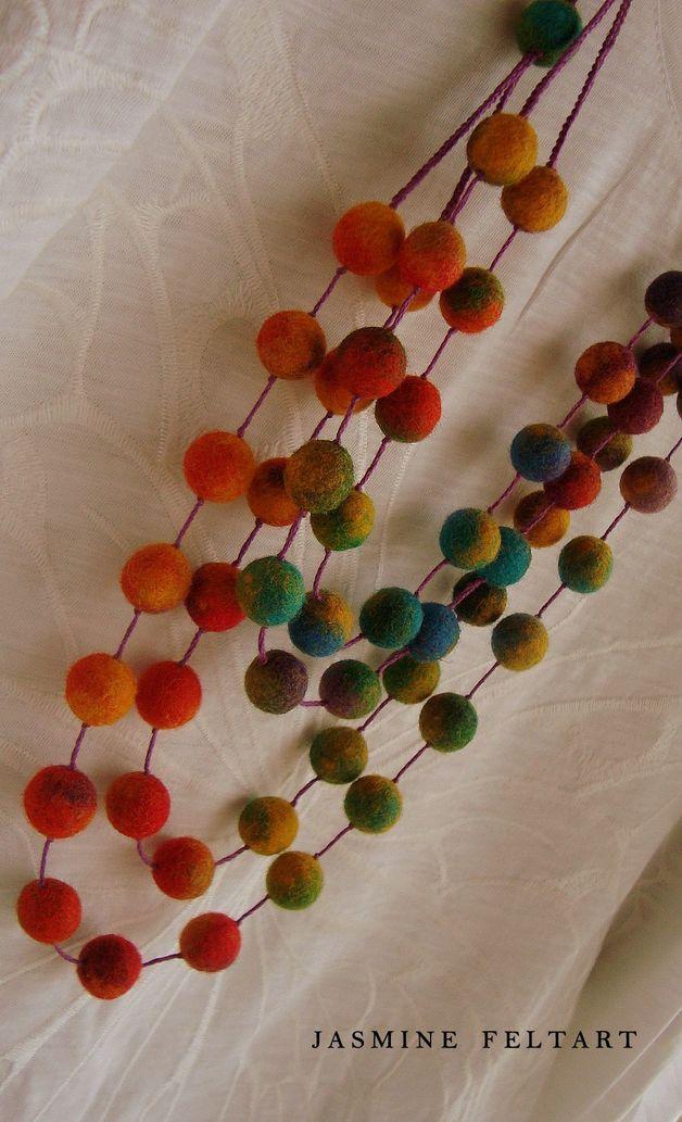 Felt Necklaces – Colorful Story Statement Necklace – a unique product by jasminefeltart on DaWanda