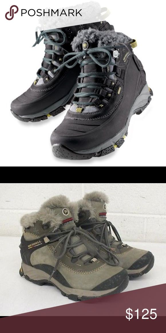 Women's Merrell Winter Hiking Boots Color is dusty olive (the second photo), and personal photos soon to come! In fantastic condition, and superb for cold/wet/icy weather. Merrell Shoes Winter & Rain Boots