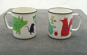 Finel 1960's enamel Arabia Finland children's mugs