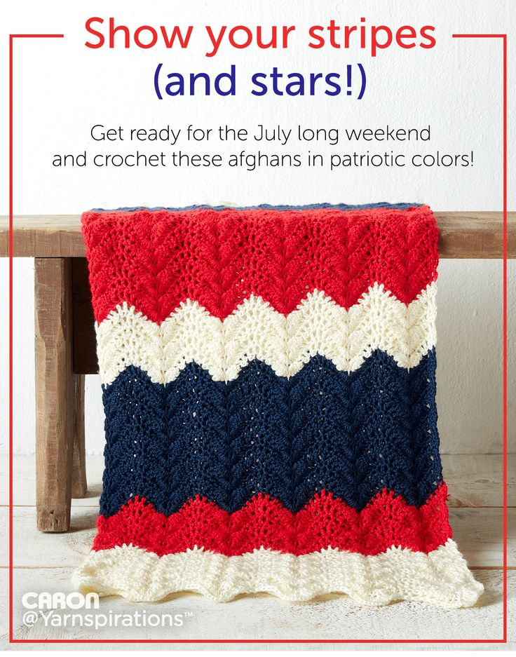 Show your stripes (and stars!) Get ready for the July long weekend and crochet these afghans in patriotic colors
