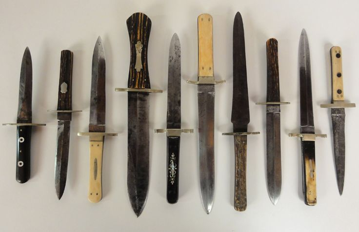 """Antique Dagger Bowie Knife Collection A collection of 10 antique 19th century daggers made in Sheffield England for the American Market. These daggers circa 1850-1870. Handle materials include ivory, bone, stage and horn. Almost all are signed and several have sheaths. They range in size from 8"""" to 12""""."""