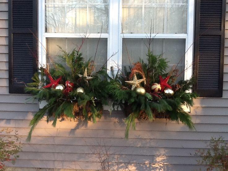 christmas window box | Holiday window boxes | Christmas outside | Pinterest