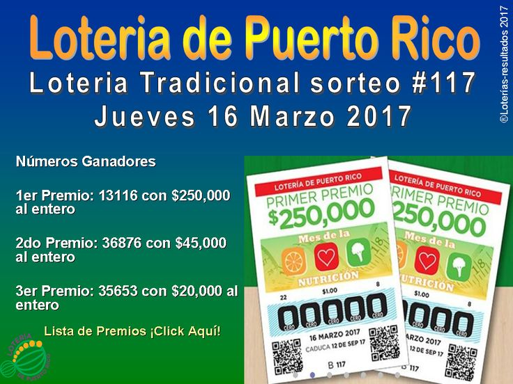 Loteria Tradicional sorteo #117 numeros ganadores del Jueves 16 Marzo 2017. Lista de premios Loteria Tradicional