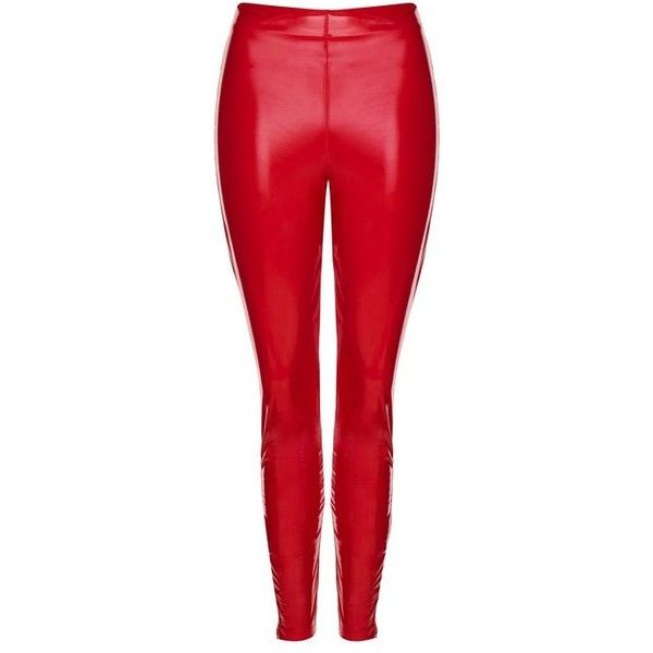 Topshop Vinyl Leggings ($36) ❤ liked on Polyvore featuring pants, leggings, topshop, vinyl leggings, red leggings, high waisted pants, high-waisted pants and wetlook leggings