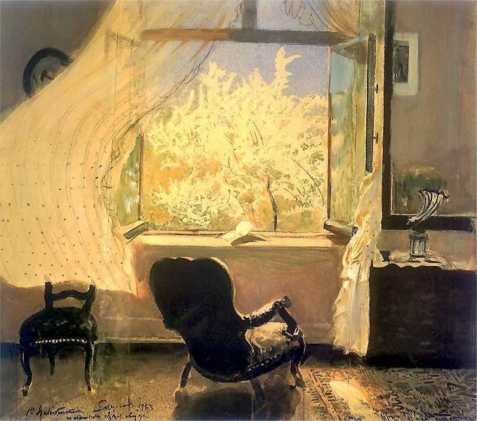 """Leon Wyczółkowski (Wola Miastkowska,1852 - Varsovie, 1936). Printemps à Gościeradz, 1933. Membre du mouvement moderniste """"Jeune Pologne """" (1890 - 1914). Le voyage à Paris en 1879 lui ouvre de nouveaux horizons. Il s'inspire de tableaux d'Alfred Stevens et à son retour, son œuvre prend une tournure impressionniste. Il puise ses modèles dans les salons bourgeois."""