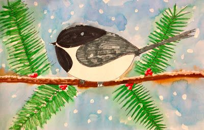 Art: Expression of Imagination: Winter Chickadees
