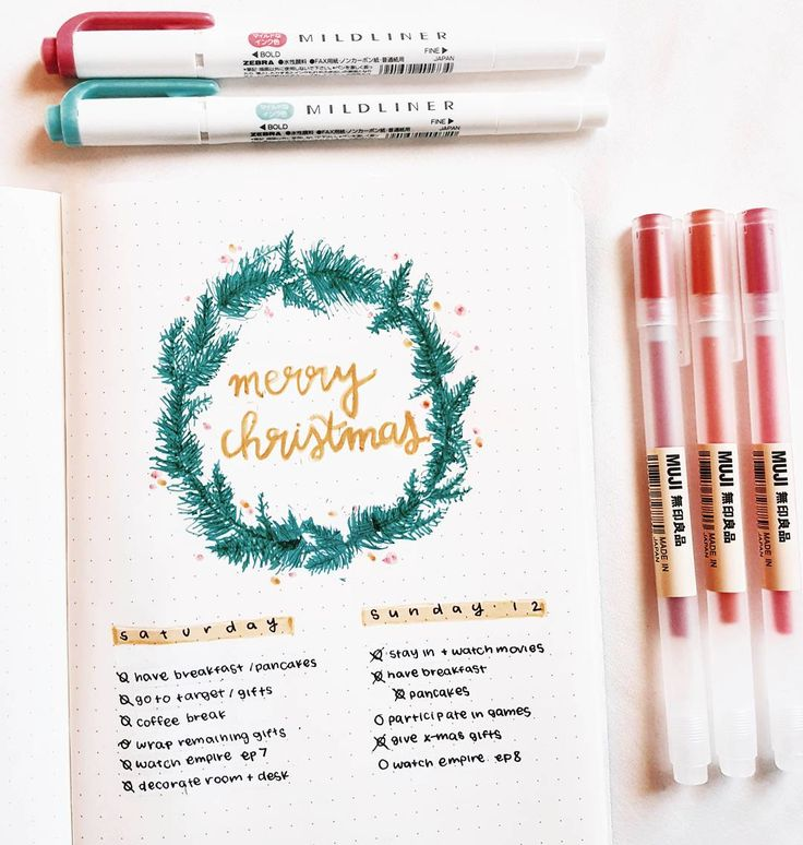 christmas wreath doodle for your bullet journal