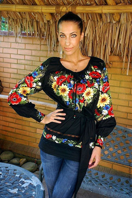 ♡♡♡♡♡♡♡ ~Hand embroidered black blouse Sunflowers by Handembroiderykvitka, $700.00