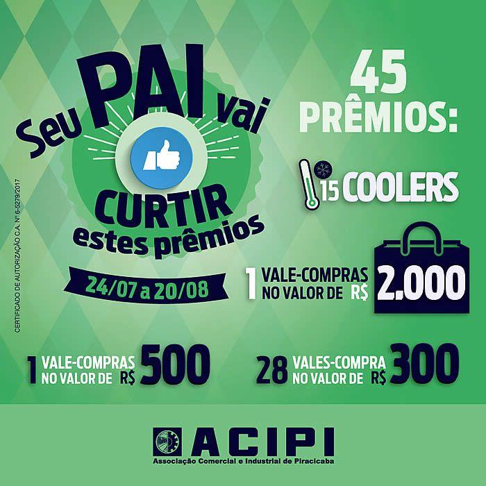 Os consumidores que comprarem nas empresas participantes dos comércios de Piracicaba, Saltinho e Charqueada, podem participar da promoção preparada pela Acipi