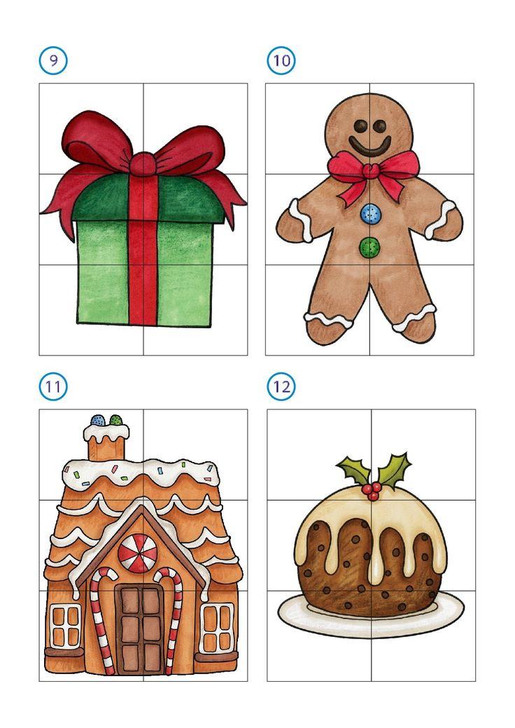 Os dejamos estos sencillos puzzles matemáticos con seis casillas con motivos navideños para trabajar con nuestros alumnos la atención y la introducción de los primeros números. en total las fichas …