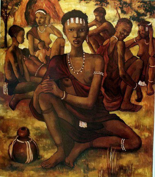 Francois Krige - Bushman group 1984 oil canvas 65cm