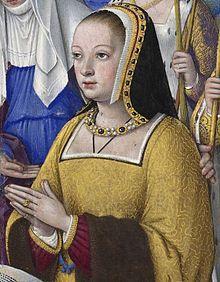 Grandes Heures d'Anne de Bretagne -  Anne de Bretagne entre trois saintes par Jean Bourdichon — http://gallica.bnf.fr/ark:/12148/btv1b52500984v/f14.item. Sous licence Public domain via Wikimedia Commons