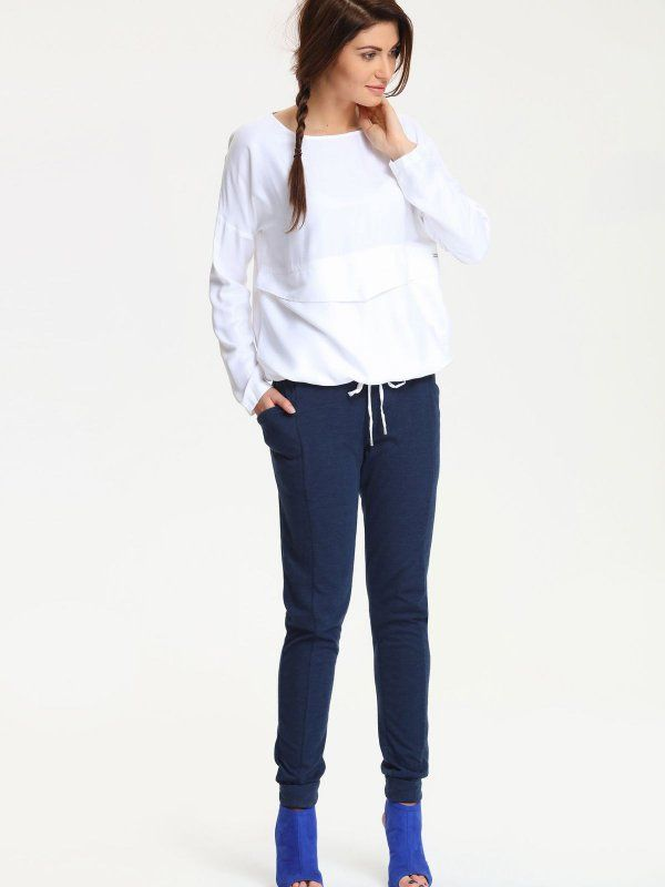koszula długi rękaw damska  biała - DKL0018 DRYWASH
