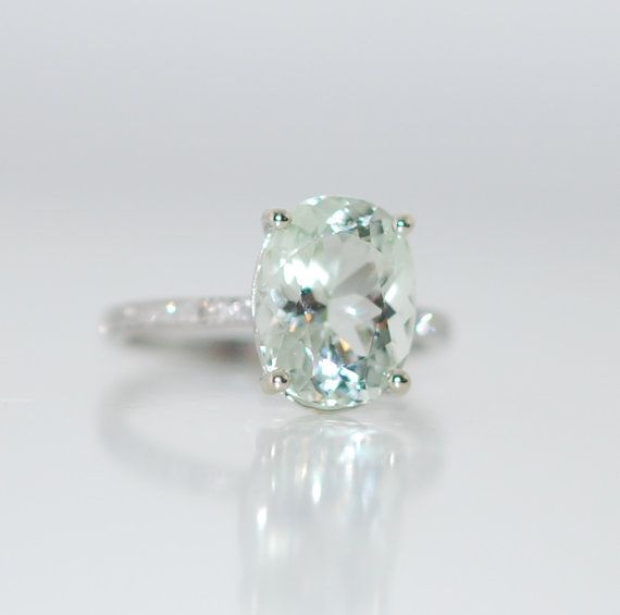 Aquamarine white gold ring 3.03ct Jasmine green aquamarine diamond ring oval cut 14k engagement ring #eidelprecious