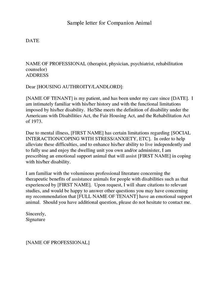 Emotional Support Dog Letter Sample 8734 (With images ...