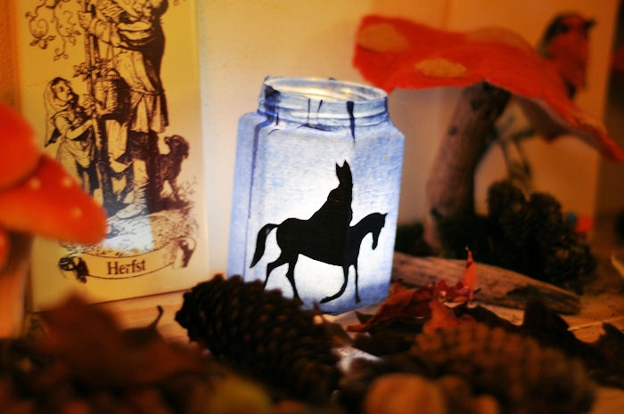 Sinterklaas Silhouette in a Lighted Jar
