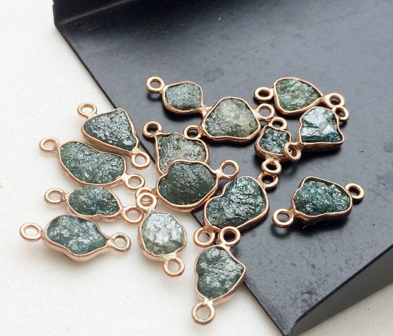 2 Pcs Rose Gold Blue Rough Diamond Connectors by gemsforjewels