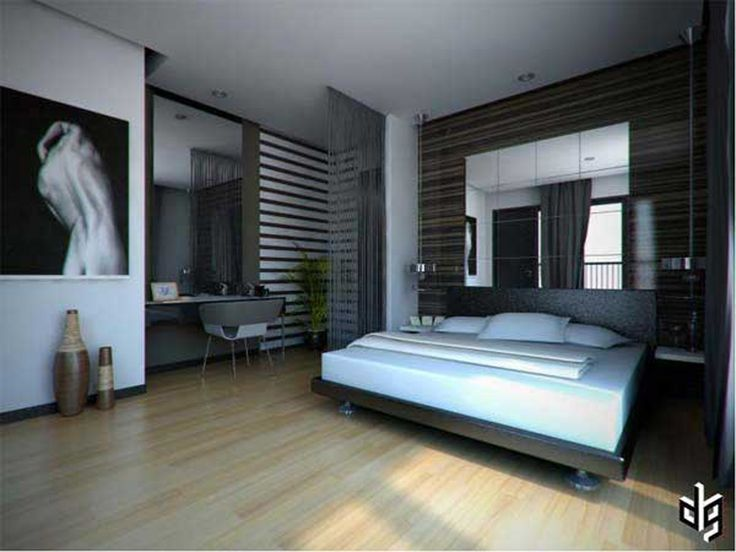 Gorgeous Bedroom Design with Wooden Floor also Mirror ... on Bedroom Ideas For Men Small Room  id=94066