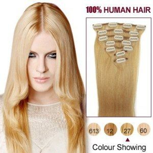 """15 Inches Strawberry Blonde(27) 7pcs Clip In Human Hair Extensions by ALIHAIR. $48.72. Two 2"""" wide wefts(1 clip per weft). 100% Real remy human hair.. Two 4"""" wide wefts(2 clips per weft). One 8"""" wide wefts(4 clips per weft). Two 6"""" wide wefts. APPLICATION:1.Wash and condition the hair thoroughly. After washing, blow dry the hair so that it is straight with no styling products (do not grease or saturate the hair with any other oils). 2.Depending on the style of ..."""