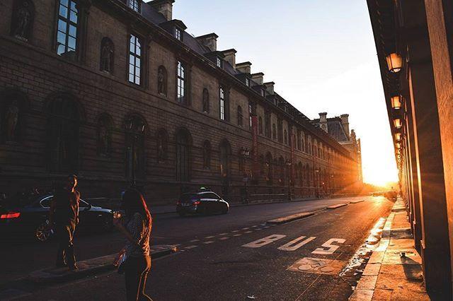 The sun shining down the street. #GastonLuga #anywherewithGL #Paris