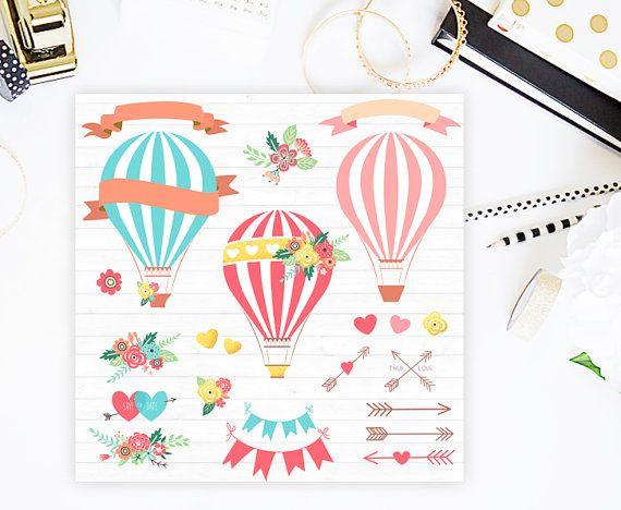 Hot air balloons clip art: Hot Air Balloon by CutePaperStudio