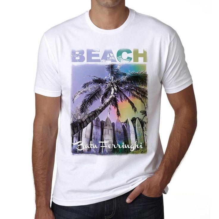 Batu Ferringhi, Beach Palm, white, Men's Short Sleeve Rounded Neck T-shirt