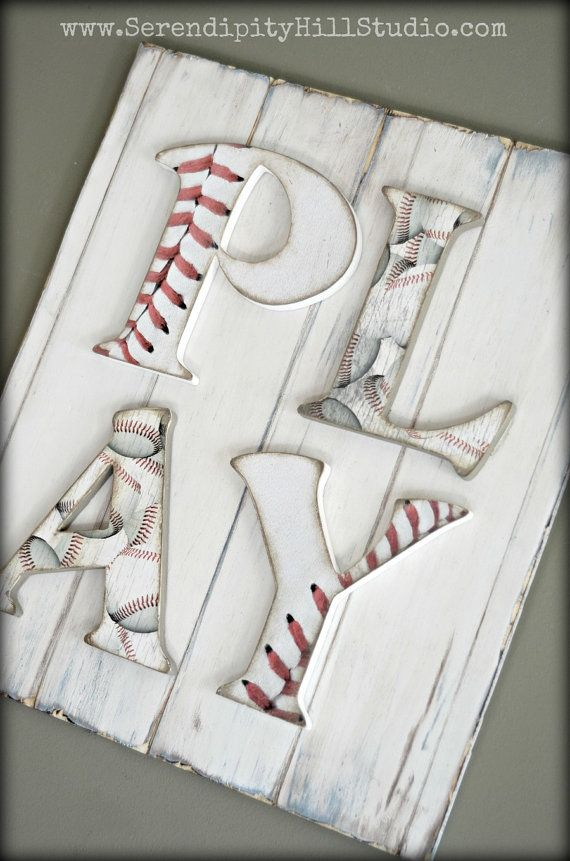 PLAY room kids sign baseball sports wood by SerendipityHillShop