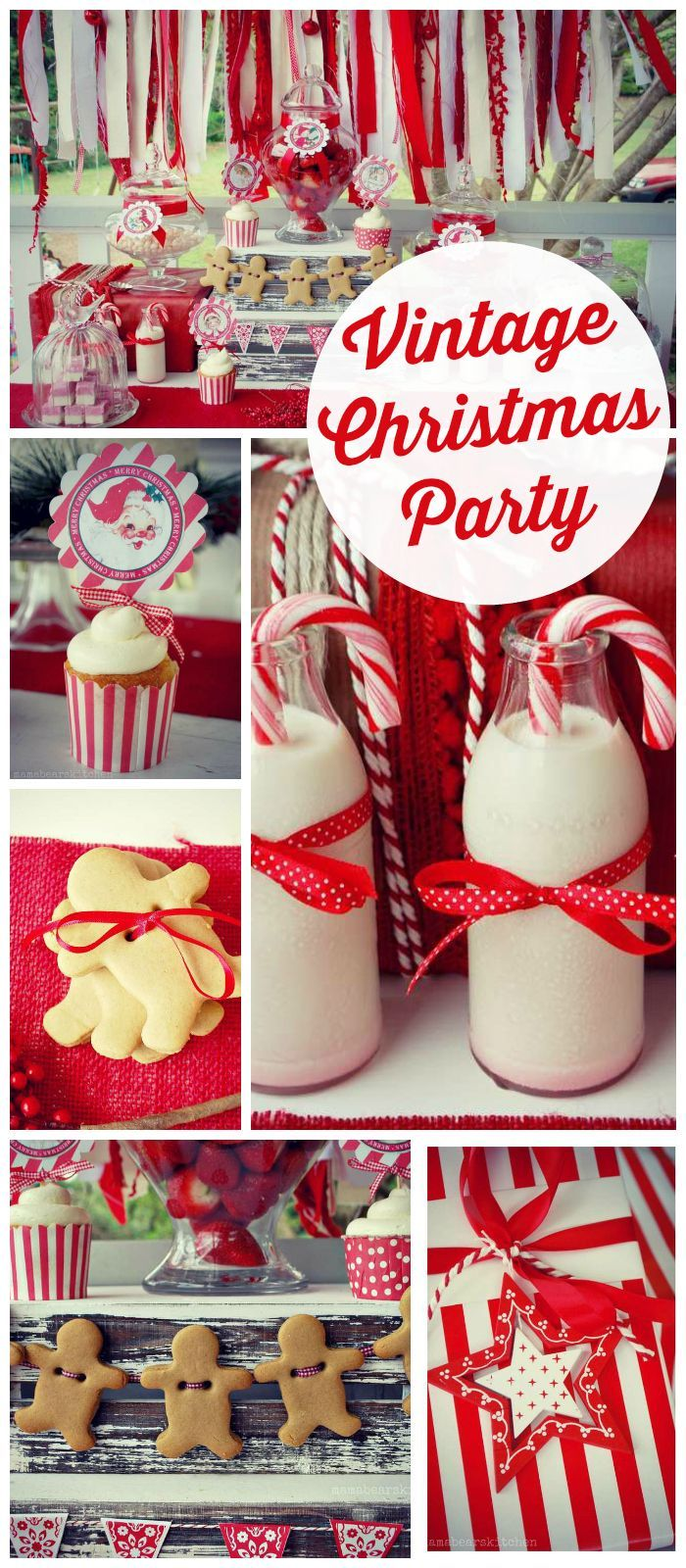 A gorgeous vintage Christmas party in red and white with a fabric and a gingerbread garland!  See more party planning ideas at CatchMyParty.com!