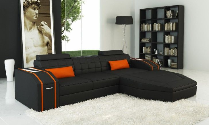 Furniture Furniture Fabulous Black Leather Corner Sofa Orange Small Rectangle Pillow On Area White Fur Rug Sofa Manufacturers Sofa Companies Extraordinary Chic Cheap Sofas Collection Elegant Concept Good Quality Sofas UK