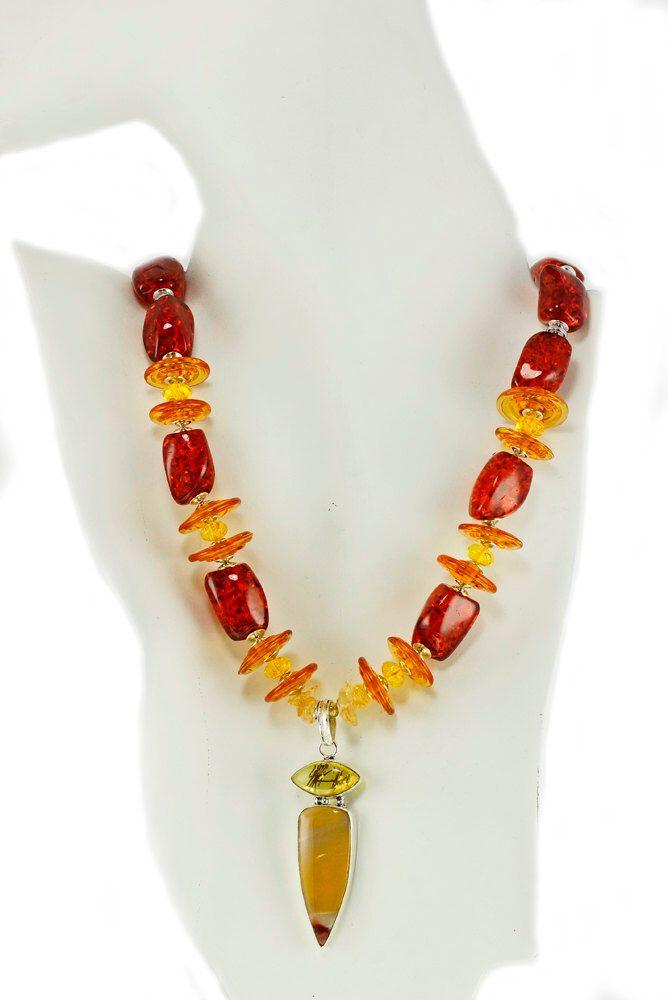 Amber Resin Necklace, Australian Mookaite Pendant, Feminine Jewellery, Unusual Necklace, Statement Necklace, Etsy UK by lindafleckneyclark on Etsy https://www.etsy.com/listing/470592564/amber-resin-necklace-australian-mookaite