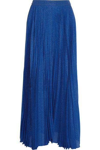 Alice Olivia - Katz Metallic Silk-blend Jacquard Maxi Skirt - Blue - US
